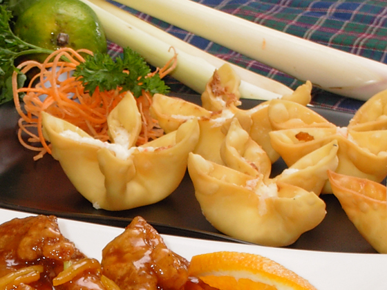 ... crab, cream cheese and onions & scallions. Fried and served with sweet